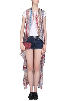 Multicolor Printed Sleeveless Wrap Cape by Soutache