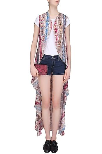 Multicolor Printed Sleeveless Wrap Cape by Soutache
