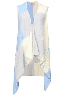 White, grey and blue intasia patchwork sleeveless cape