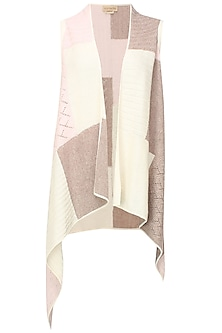 White, beige and pink intasia patchwork sleeveless cape