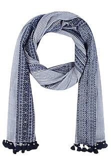 Ivory and Navy Printed Stole by Soutache