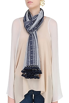 Ivory and Navy Printed Stole