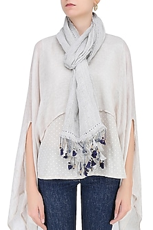 Natural and Indigo Printed Stole by Soutache