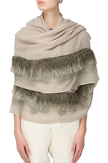 Dusty pink cutwork and fur trim lambada shawl