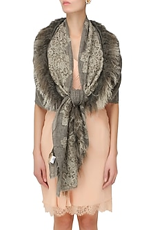 Brown cutwork and fur trim lambada shawl