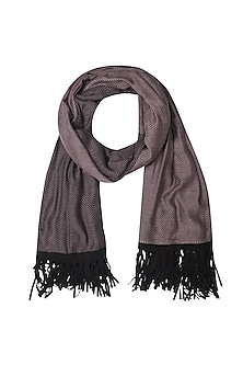 Rose and black fringes herringbone scarf by Soutache