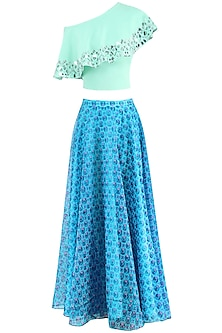 Blue Flower Print Skirt with Crop Top