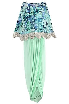 Mint Green Drape Skirt with Printed Cape
