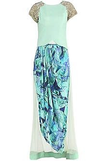 Mint Green Dhoti Pants with Corset and Net Train
