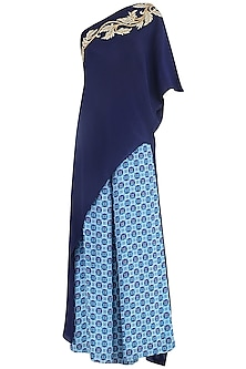 Blue Printed Palazzo Pants with Cape