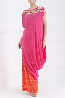 Pink Cowl Kurta with Printed Palazzo Pants by Suvi Arya