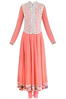Peach Anarkali with Embroidered Waistcoat by Suvi Arya
