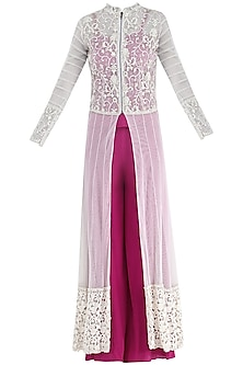 Fuschia Pink Corset, Palazzo Pants and Jacket Set