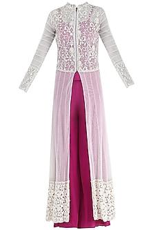 Fuschia Pink Corset, Palazzo Pants and Jacket Set by Suvi Arya