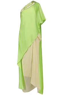 Lime Green Embroidered Asymmetric Cape with Corset and Drape Skirt