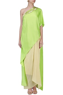 Lime Green Embroidered Asymmetric Cape with Corset and Drape Skirt by Suvi Arya