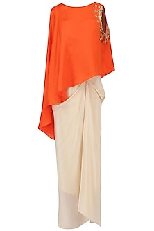 Orange Mirror Embroidered Cape with Corset and Drape Skirt