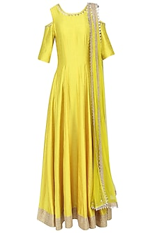 Yellow Cold Shoulder Gota Anarkali with Attached Dupatta