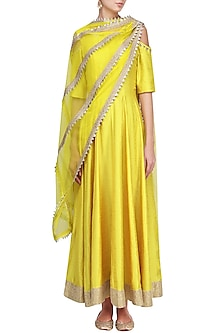 Yellow Cold Shoulder Gota Anarkali with Attached Dupatta by Suvi Arya