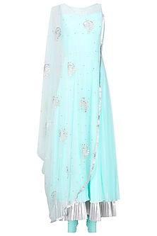 Aqua Blue Embroidered Cape Anarkali with Attached Dupatta