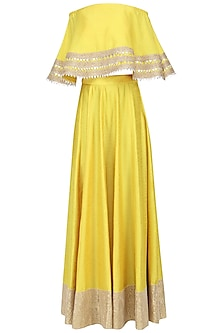 Yellow Gota Embroideted Crop Top and Skirt Set