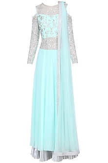 Aqua Blue Gota Embroidered Lehenga Saree Gown