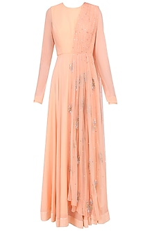 Peach Embroidered Anarkali with Attached Dupatta