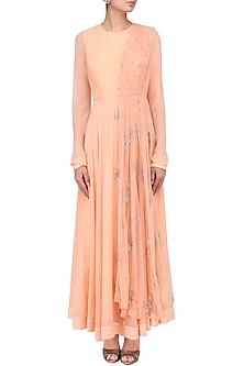 Peach Embroidered Anarkali with Attached Dupatta by Suvi Arya