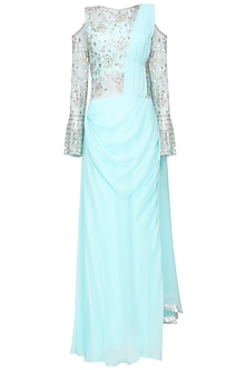 Aqua Blue Gota Embroidered Cold Shoulder Saree Gown