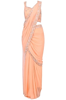 Peach Embroidered Pre Sticted Saree