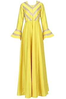 Yellow Gota Embroidered Bell Sleeves Gown