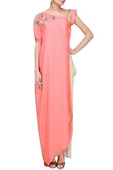 Peach Bird Embroidered Cape with Corset and Drape Skirt by Suvi Arya