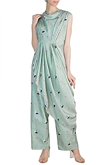 Teal Blue Printed Crop Top With Attached Drape & Palazzo Pants by Arya by SVA