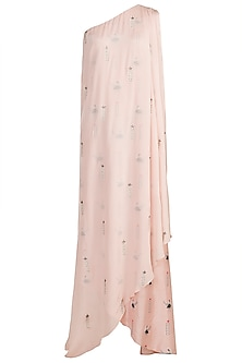 Nude Embroidered & Printed One Shoulder Kurta by Arya by SVA
