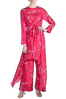 Pink Printed Tunic With Pants by Arya by SVA