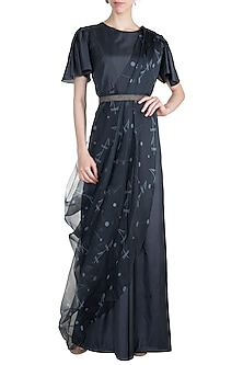 Black Jumpsuit With Embroidered Printed Drape by Arya by SVA