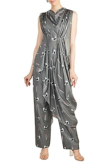 Grey Crop Top With Printed Attached Drape & Pants by Arya by SVA