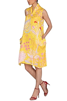 Yellow Jaal Printed Dress by Swati Vijaivargie