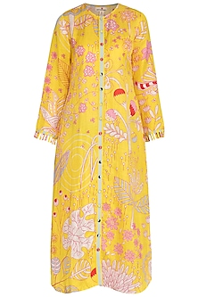 Yellow Jaal Printed Shirt Dress by Swati Vijaivargie