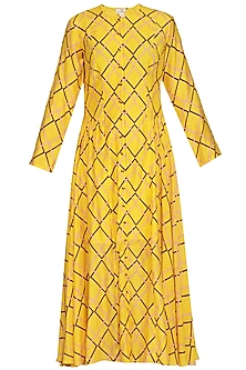 Yellow Printed Tunic Dress by Swati Vijaivargie