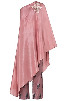 Rose Pink Embroidered One Shoulder Cape with Cigarette Pants by Arya by SVA