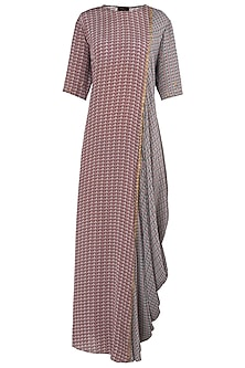 Rose Pink and Grey Side Cowl Maxi Dress