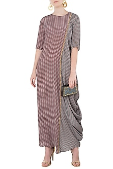Rose Pink and Grey Side Cowl Maxi Dress by Arya by SVA
