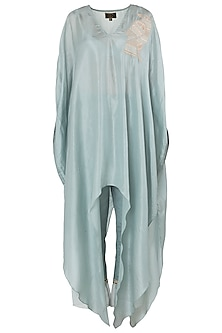 Teal Blue Embroidered Kaftan with Cigarette Pants