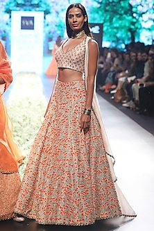 Beige and Orange Embroiderd Cape and Lehenga Set