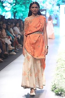 Orange One Shoulder Embroidered Kaftan with Matching Sharara Pants and Embroidered Belt