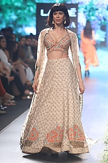 Beige Embroidered Lehenga with Cape Set