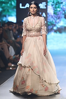 Beige and Pink Embroidered Layered Lehenga Set by SVA BY SONAM & PARAS MODI