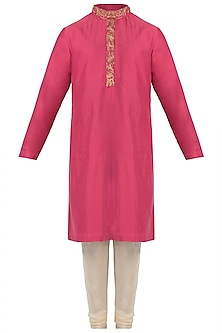 Pink and Off White Embroidered Kurta with Pants