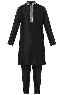 Black Embroidered Kurta with Pants